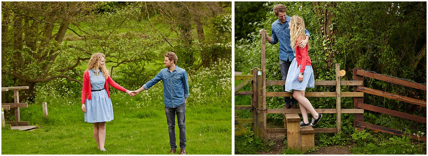 Two photos of an engaged couple in the country