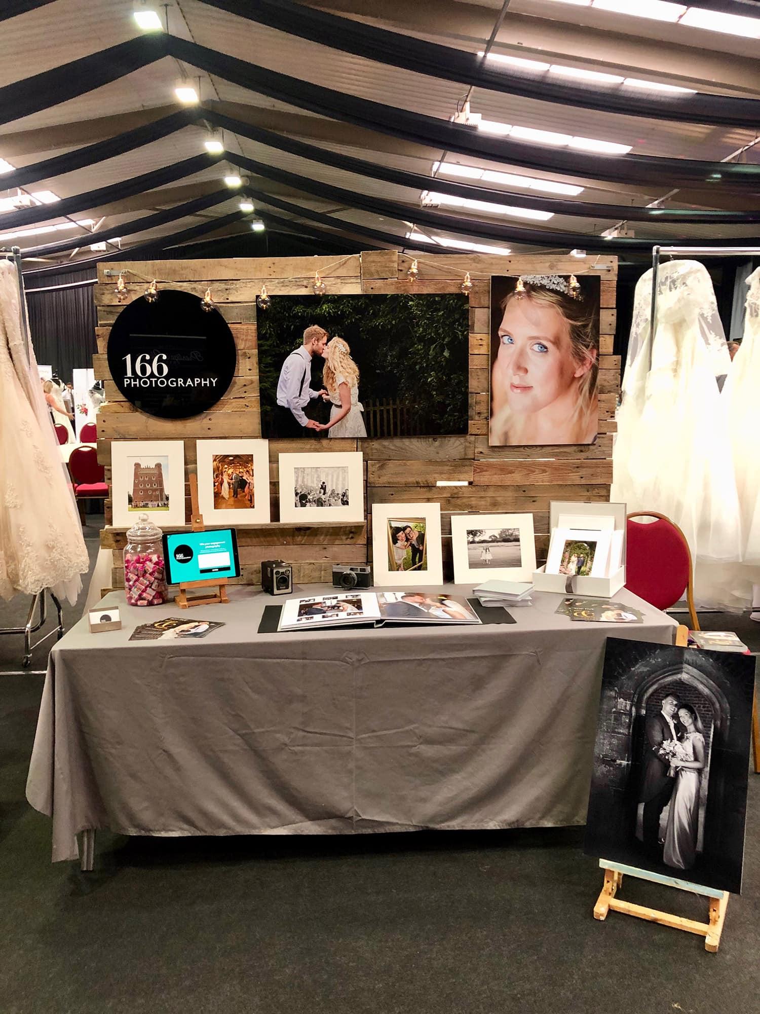 A wedding fair display for 166 photography