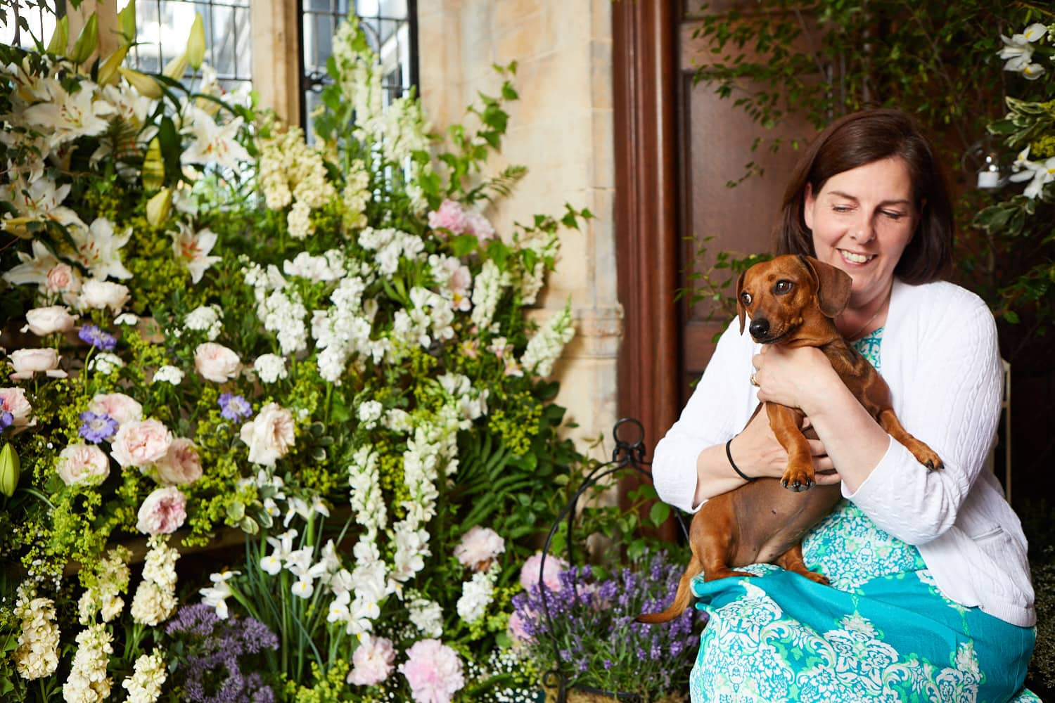 Shirley from S&A Floral with her dog Dolly.