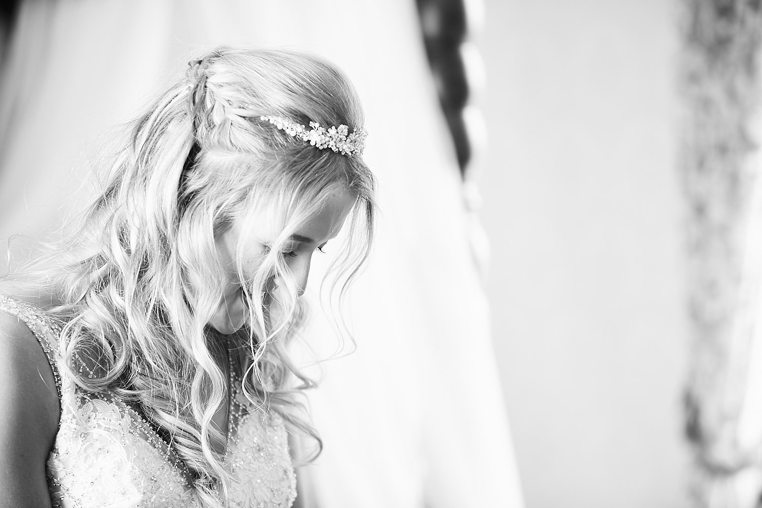 A bride taking a quiet moment
