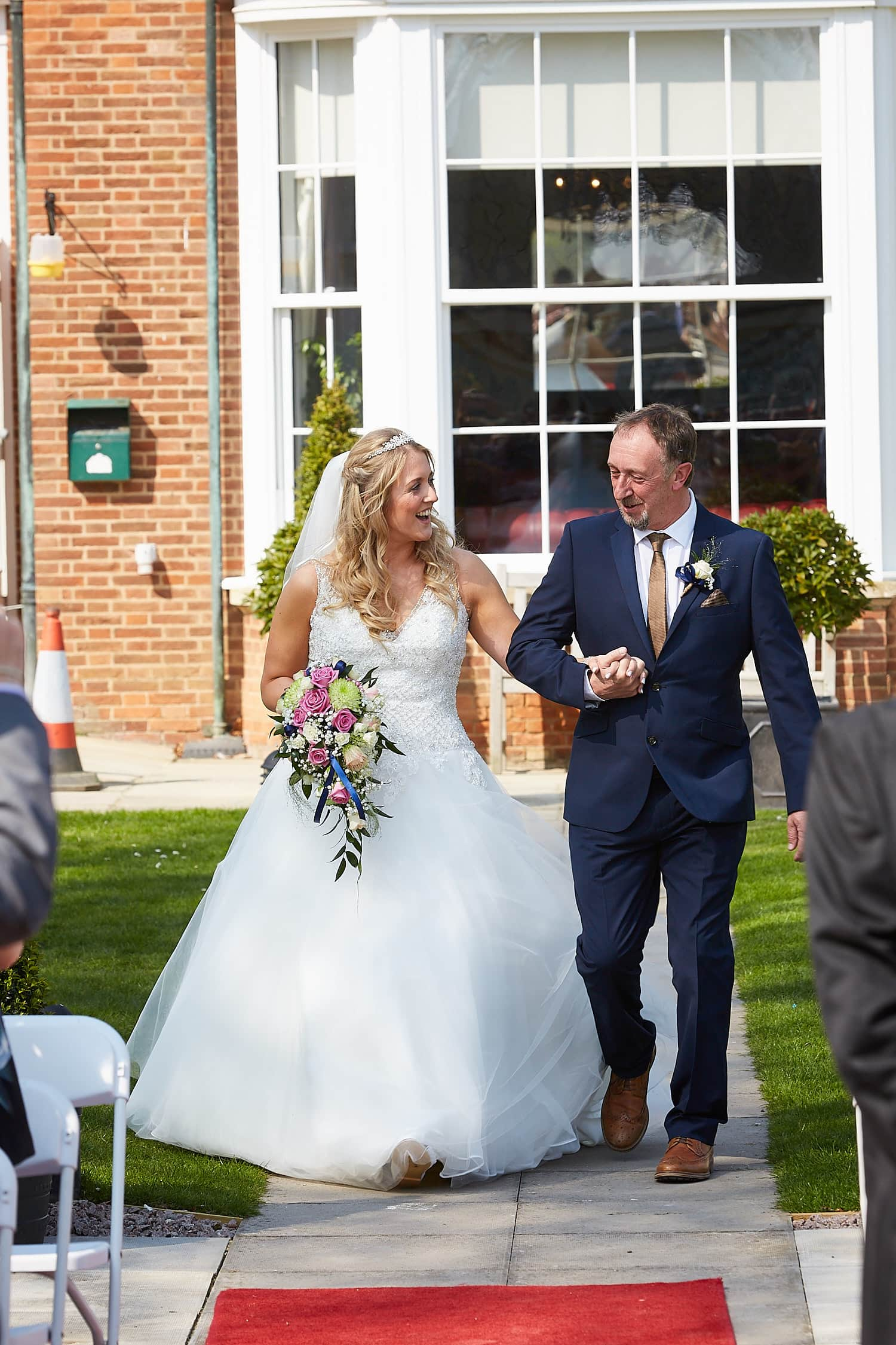 A father walks his daughter down the aisle at Kenwick Park Hotel, Louth